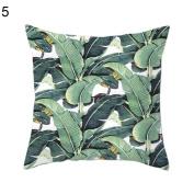 Green Leaf Flower Printed Pillow Case Square Waist Cushion Cover Home Sofa Decor