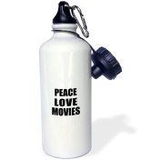 3dRose Peace Love and Movies - Things that make me happy - movie buff gift, Sports Water Bottle, 620ml