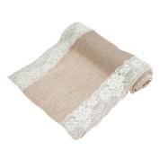 Demiawaking Vintage Natural Burlap Jute Linen Table Runner White Lace Cloth, 275x30cm