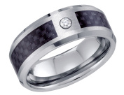 Mens Simulated Cubic Zirconia (CZ) Wedding Band in Tungsten