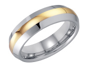 Mens Wedding Band in Tungsten with Gold Plating