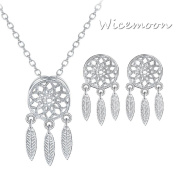 Wicemoon Dream Catcher Feather Drawing Pendant Earrings Necklace Pendant Diamond Stud Earrings Sterling Silver Glittering Necklace