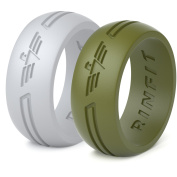 Silicone Rings | Wedding Band for Men 2 Rings Pack- Rinfit® Designed Premium Quality Silicone Rubber Wedding Ring Training, Crossfit, Fitness, Firefighter, Police Officer, Yoga