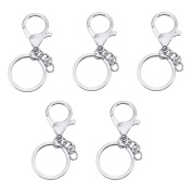 5PCS Stainless Steel Lobster Clasps Findings Keychains Key Rings key ID tags