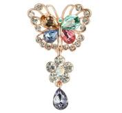 Ruikey Women Elegant Rhinestone Gem Butterfly Wedding Bridal Brooch Scarves Shawl Corsage Clips Jewellery Decoration
