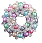 Ruikey Elegant Brooches Pins Rhinestone Bouquet Wedding Bridal Brooch Scarves Shawl Clip for women's Ladies Jewellery