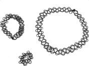 Dosige 3 pcs Fancy Black Choker Necklace Lace Rings Bracelet for Women Girl