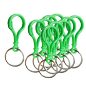 MagiDeal 10 Pieces Metal Plastic Colourful Lobster Clasps Claw Hook Key Ring Chain Keyrings - Green, as described