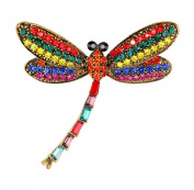Ruikey Retro Brooch Pin Rhinestones Dragonfly Wedding Bride Brooch Scarves Shawl Clip Corsage Jewellery for Women