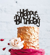 Happy Birthday Cake Topper with Swirls and Stars - Pretty Birthday Cake Topper - Glitter Black
