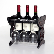 SUBBYE Wine Rack European Style Goblet Holder Creative Red Wine Display Stand Solid Wood Upside Down Wine Glass Holder