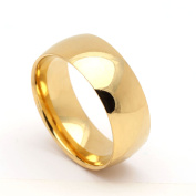 8mm Stainless Steel Gold Tone Wedding Band Ring - Ginger Lyne Collection