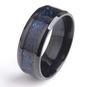 SIZE 10 COOL MENS RING BLACK DRAGON BLUE CARBON fibre 316L STAINLESS STEEL RING