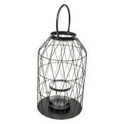 Sagebrook Home Black Hurricane Metal Lantern