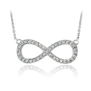 Crystal Ice Silvertone Crystal Infinity Necklace with Elements