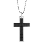 BIG Jewellery Co Two-tone Men's Stainless Steel Textured Cross Pendant Necklace