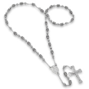 Steeltime Stainless Steel Black Rubber Rosary Necklace in 2 colours