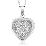 Women's Vintage Style Unique Diamond Rhodium Plated Brass Cross Heart Pendant