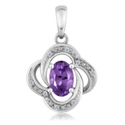 10K White Gold Oval Purple Amethyst and Diamond Women's Pendant With Chain 0.39 Cttw