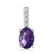 Women's Oval Checkerboard Purple Amethyst 14K White Gold Diamond Pendant With Chain