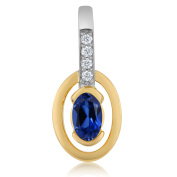 18K Yellow Gold Women's Diamond Oval Blue Simulated Sapphire Pendant With Chain 0.44 Cttw