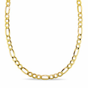 """Men's Semi-Solid 10kt Yellow Gold Figaro Link Necklace, 20"""""""