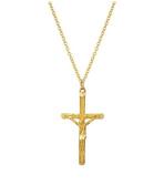 14 Karat Yellow Gold Cross Crucifix Pendant Necklace, 50cm