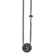 Men's Titanium/Sterling Silver Black Ti Polished Etched Floral Necklace