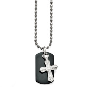 Men's Titanium/Sterling Silver Black Ti Polished Etched Cross/Dog Tag Necklace