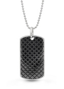 Sterling Silver, Oxidised Dog Tag Locket Necklace Men's, 60cm chain, The Walter by With You Lockets