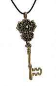 Bronze Finish Mediaeval Key Pendant w/ Cord Necklace