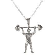 Sterling Silver Body Builder Pendant Necklace, 46cm