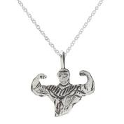 Sterling Silver Bodybuilder Pendant Necklace, 46cm