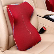 QLL Relax Car Seat Lumbar Back Support Memory Foam Cushion , red