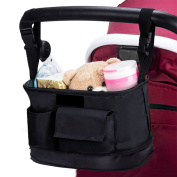 CestMall Universal Baby Stroller Organiser Bag to All Strollers with Buckle Design, Cup Holders, Shoulder Strap, Expandable Storage Space for Baby Accessories/iPhones/Wallets/Cups etc.