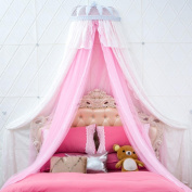 LNPP High-end Round Lace Curtain Dome Bed Canopy Netting Princess Mosquito Net Bed Mantle (Pink) , 1.8m