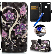Etsue Glitter Leather Case for Huawei P10 Lite Wallet Card Case Cover with Cute Colourful Pattern, Huawei P10 Lite Crystal Diamond Bling Luxury Leather Wallet Case Cover Slim Wrist Strap Case with [Stand Feature] for Huawei P10 Lite +Blue Stylus Pen+Bl ..
