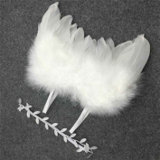 Baby Newborn Angle Feather Wing And Olive Branch Headband Photograph Prop Suit Infant Clothes Suit