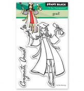 Penny Black Grad! Clear Unmounted Rubber Stamp Set