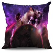 Space Cat Laser Eye Funny Kitty Linen Cushion / Trow Pillow 40cm x 40cm| Wellcoda