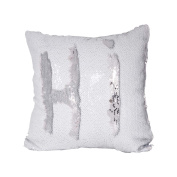 TiaoBug 40 x 40cm Reversible Sequins Pillow Cover Throw Cushion Case Home Decor Colour Changing Pillow Case Insert not Included White & Silver One Size