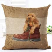 good01 Cat Dog Pattern Linen Throw Pillow Case Sofa Bed Car Cushion Cover Home Decor