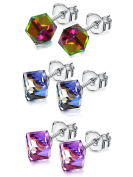 """Magic Stud Earring"" JDGEMSTONE Cyber Monday Christmas Gift 3 Paris Crystal Stud Earrings Change Colour Cubic Earrings"