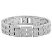 Steel Nation Jewellery Men.s Stainless Steel .75cttw White Diamond Silver-Tone - Mens Link Bracelet, 8.75.