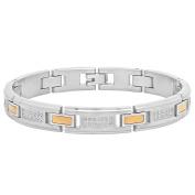 "Steel Nation Jewellery Men's Stainless Steel .5 cttw White Diamond 10k Yellow Gold Accent - Mens Bracelet, 8.75"""
