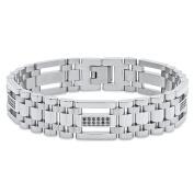"Steel Nation Jewellery Men's Stainless Steel Black .5cttw Diamond Jubilee - Mens Link Bracelet, 9"""