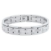 "Steel Nation Jewellery Men's Stainless Steel .42 cttw Diamond High Polish - Mens Link Bracelet, 8.5"""