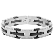 Steel Nation Jewellery Men's Stainless Steel .5cttw White Diamond Two-Tone Black and Grey - Mens Clearance Link Bracelet, 21cm