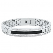 "Steel Nation Jewellery Men's Stainless Steel .25 cttw White Diamond Silver-Tone Black Resin - Mens ID Link Bracelet, 8.5"""
