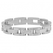 "Steel Nation Jewellery Men's Stainless Steel .35cttw White Diamond Accent - Mens Link Bracelet, 8.5"""